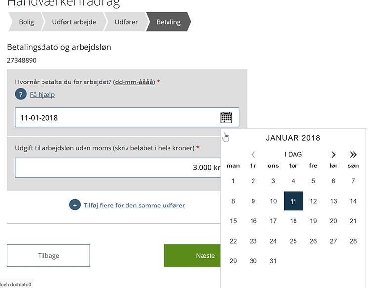 Indsæt dato og arbejdsløn